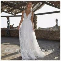 Sexy Lace Beach Wedding Dress Bridal Ball Gowns White Sleeveless V-Neck Custom