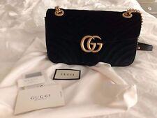 Gucci-- GG Marmont Chevron velvet shoulder bag