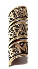 Viking 100% Bronze Rune Beard Bead Ring - dreadlock hair