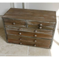Shabby Chic 7 Drawer Wood Vintage aged Cabinet Rustic Storage Jewellery Box 46cm