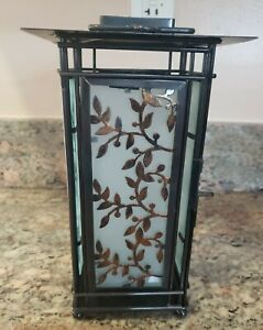 Metal & Glass Hanging Lantern Tealight Candle Holder, Black/Bronze Color