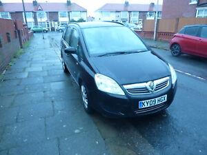 BLACK 7 SEAT Vauxhall Zafira 2009 1.8 Drive away  MOT.Failure Spares or repair