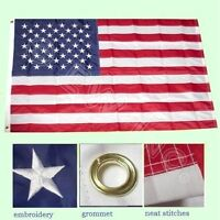 3x5 ft American Flag USA US U.S. Embroidered Stars Sewn Stripes Brass Grommets