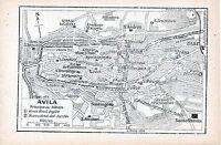 Ávila Avila 1915 peq. mapa ciudad orig + guía fr. (4 p.) Santiago Santo Tomás