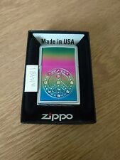 ZIPPO LIGHTER BRAND NEW PEACE FOR ALL SWAROVSKI CRYSTAL PETROL REFILABLE NEW