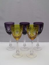 "Faberge Odessa Crystal Wine Glasses Goblets 8 3/8"" / Set of 5 / Signed"