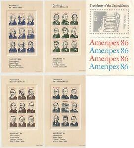 US 2216-2219 Ameripex'86 Presidents 22c 4 sheets with original envelope MNH 1986