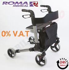 Roma City Walker - Lightweight Folding Rollator With Seat - 4 Wheel Walking Aid