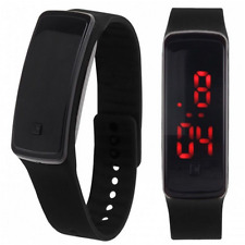 Black Fashion Digital LED Sports Watch Silicone Band Wrist Watches Men Women TR