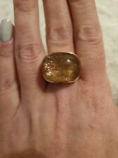 925 Silver Gold Plated And Gold Dust Stone Ring. Size S1/2.