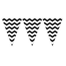 BLACK AND WHITE CHEVRON STRIPE FLAG BANNER 9 FT LONG (2.74 MTR) PARTY DECORATION