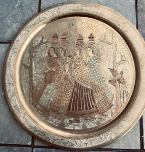 """Antique Solid Brass Tray Cold Painted Engraved 11.5"""" Girls Featuring Water Scene"""