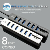 6 USB 2.0 Hub 8 Port with SD TF Memory Card Reader Splitter High Speed Cord HUB