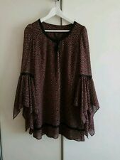 KATE MOSS TOPSHOP Iconic Bell Angel Sleeve Boho Hippy Dress  UK10  US 6 EU38