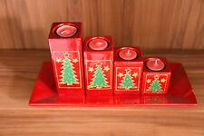 kerzen set 5 teilig mit Teelichter und Teller Baum motiv Neu/Ovp