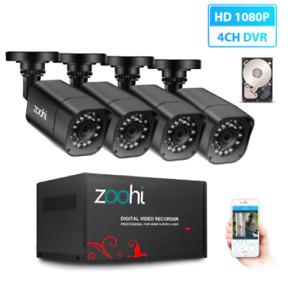 AHD Outdoor CCTV 1080P Security Camera DVR Kit Waterproof HDD P2P HDMI