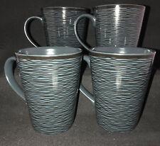 Noritake Set of 4 Dark Blue BoB Swirl 43817 Coffee Mugs or Tea Cups - FREE SHIP!