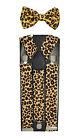 "35mm Wide Mens Adjustable Braces Matching ""Leopard"" Suspender  Bow tie Set"
