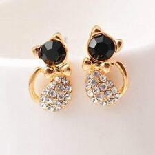Womens Crystal Gold Cats Shape Ear Stud Earrings Wedding Jewellery Gift Party