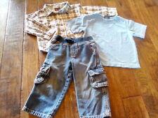 Euc! Boys Gymboree 3 pc Blue Plaid Shirt & Denim Jeans Outfit Size 2T