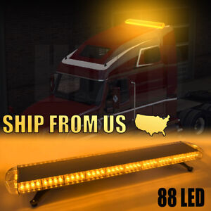 "88LED 47"" Light Bar Emergency Beacon Warn Tow Truck Response Strobe Amber Yellow"