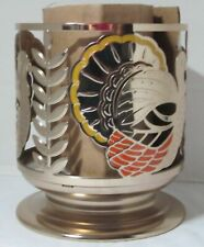 Bath & Body Works Candle Sleeve Holder 3-Wick 14.5 oz Gold TURKEY Thanksgiving