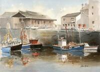 BOATS IN HARBOUR Small Watercolour Painting JIM BIRT c1980