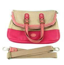 FOSSIL Womens Pink Faux Leather Woven Foldover Tote Crossbody Handbag EUC