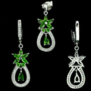 Pendant and Earring Green Chrome Diopside Genuine Natural Gems Sterling Silver