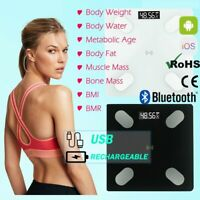 LCD Bluetooth Smart Digital Scale USB BMI Body Fat Muscle Weight Scales APP IOS