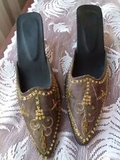 TT High Class Shoes, heeled fabric Mules, beaded, sequined, embroidered UN-SIZED