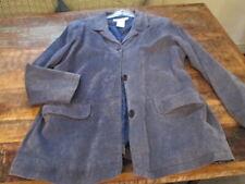 Jessica Holbrook Coat Leather Suede Jacket BLUE Washable Lined 1X XL