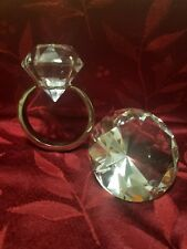 SET of 2 a Big proposal Crystal Engagement Ring Paper Weight & Big Diamond