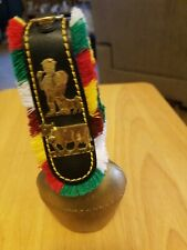 Vintage Swiss Cast Brass Cowbell with Fringed Leather Strap