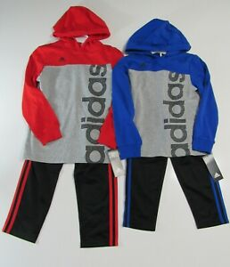 Adidas Boys 2 Piece Hooded LS Shirt and Pants Set Nwt