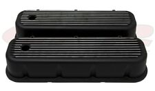 1965-95 Chevy Big Block  Chevy BLACK Tall Valve Covers Polished Finned Black