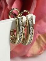 14K Yellow Gold GP 1.00 Ct Diamond Channel Set Hoop Earrings Omega Closure Set