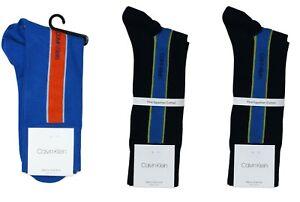 Calvin Klein 3-Pairs Vertical Stripe Egyptian Cotton Men's Socks One Size NWT