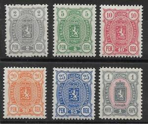 FINLAND 1889-94. SG. 108, 110, 112, 115, 116, 119. FINE LMH. VERY FRESH. (1052)