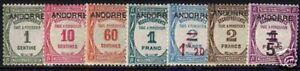 "FRENCH ANDORRA YVERT POSTAGE DUE 9 / 15 ""  COMPLET SET 7 VALUES "" MNH VVF E004"