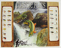 Rivers Edge Classic Flies TIN SIGN vintage fishing lure ad metal wall decor 1296