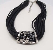 """ICON 17"""" BLACK CRYSTAL FASHION MULTI CHORD NECKLACE SILVER STATEMENT JEWELRY NEW"""