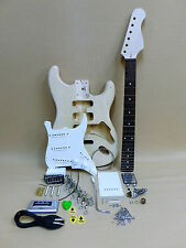 Complete DIY Kit – Strat Style Electric Guitar with Loaded Pick Guard + Tuner