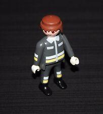 Playmobil pompiers pompier châtain combinaison grise 4608 5705 5704 5716 3885