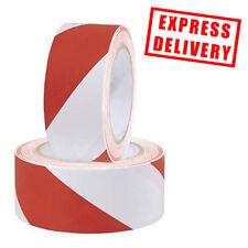 48 Rolls Red/White 48mm x 33m Safety Self Adhesive Hazard Warning PVC Tape
