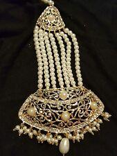 Indian pakistani pearl Jhoomar Matha Patti Teeka Passa Kundan head Jewelry