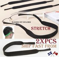 SUNGLASSES STRAP SPORT BAND Black NEOPRENE READING GLASSES HOLDER LOT 1//2//3//6//12