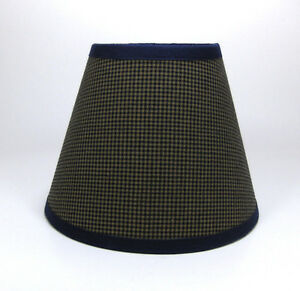 Country Primitive Navy Mini Check Homespun Fabric Lampshade Lamp Shade