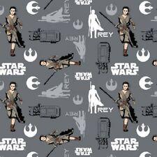 Star Wars The Force Awakens Fabric - Rey - Iron - 100% Cotton