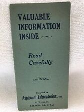Original Aspironal 16 page booklet-Aspironal Liquid cold remedy-Roosevelt Drug